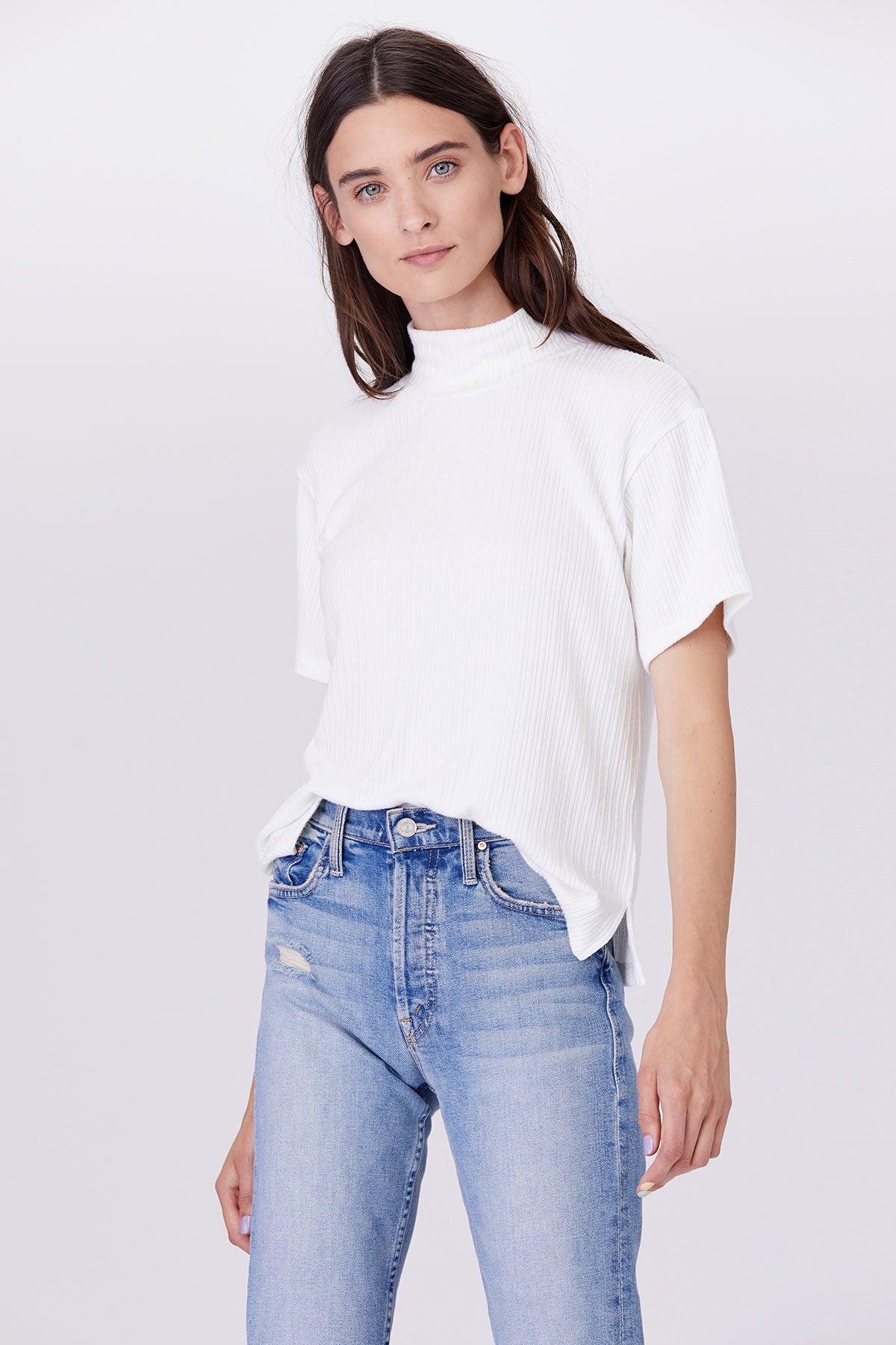 LNA Alice Mock Neck Ribbed Top In White