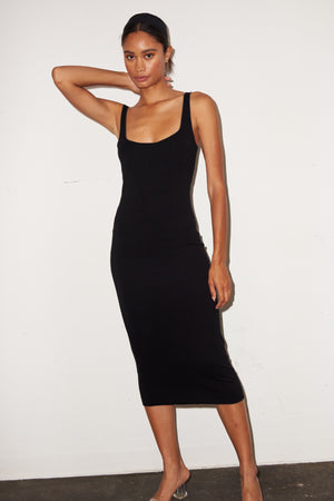 LNA Ribbed Nel Dress in Black
