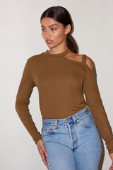 LNA Ribbed Novo Shoulder Cutout Top in Olive Khaki