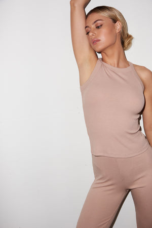 LNA Ribbed Dylan Tank in Nude