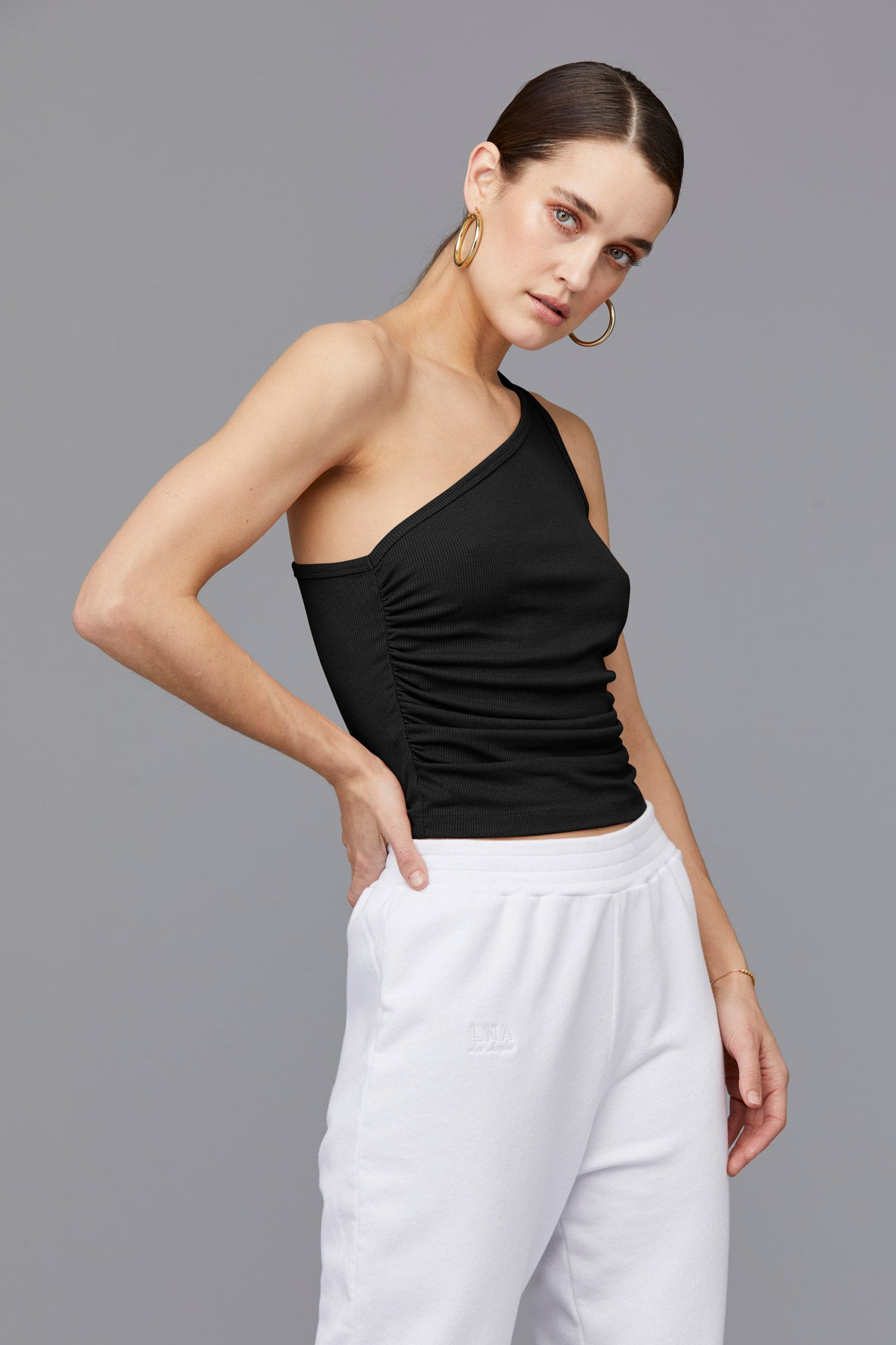 Ariel Rib One Shoulder Ribbed Tank