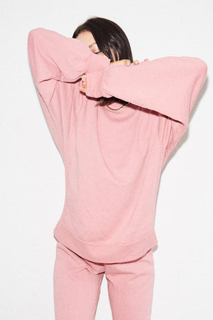 LNA Ribbed Panel Sweatshirt in Heather Pink