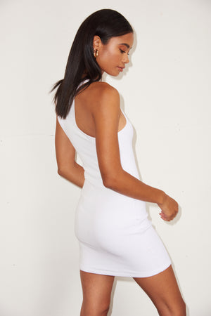 LNA Ribbed Skinny Racer Dress in White