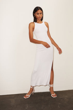 LNA Ribbed Candi Dress in White
