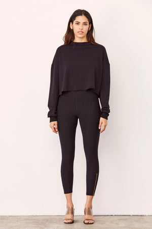 LNA Black Ribbed Zipper Legging