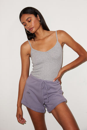 LNA Rolled Logo Sweat Shorts in Lilac Stone Purple