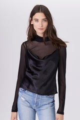 LNA Belle Sheer Top with cowl neck tank in black