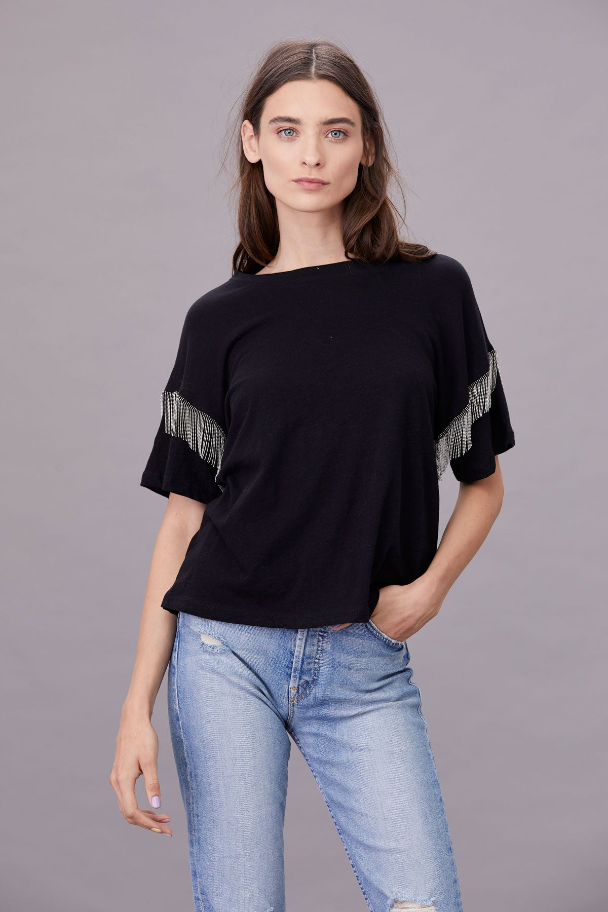 LNA Black Shimmy Chain Fringe Tee