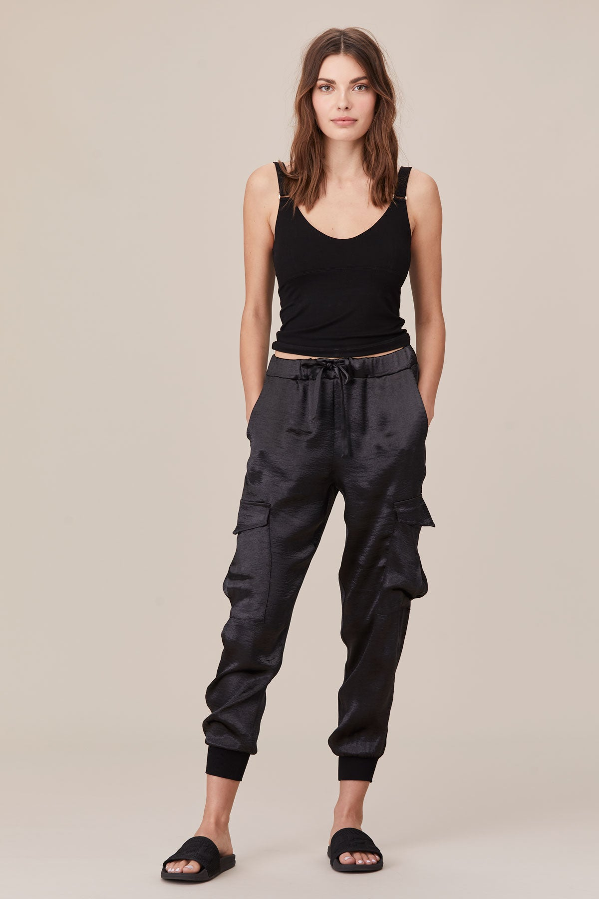 LNA Shine Cargo Pant in Black