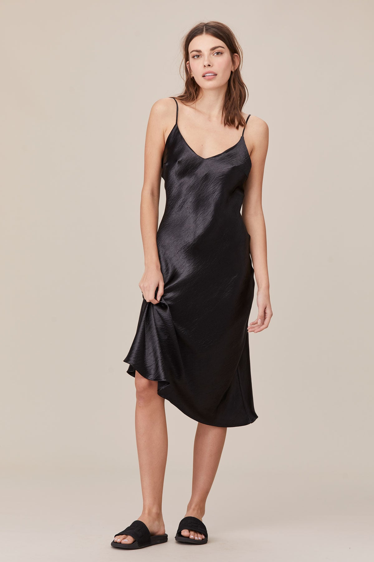 LNA Midi Length Shine Slip Dress in Black