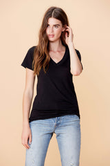 Short Sleeve Deep V Neck - Black