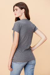 Short Sleeve Deep V Neck - Heather Grey
