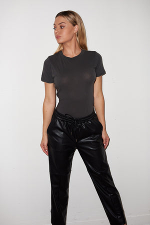 LNA Fitted T Shirt Bodysuit in Pirate Black
