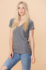 Short Sleeve V Neck - Heather Grey