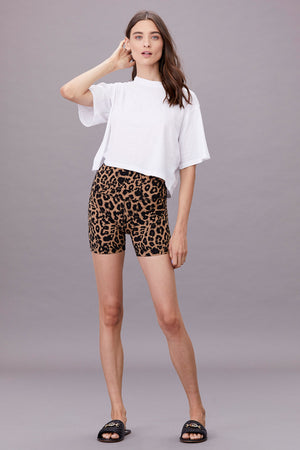 LNA Clothing Shorty Bike Short in Leopard Print