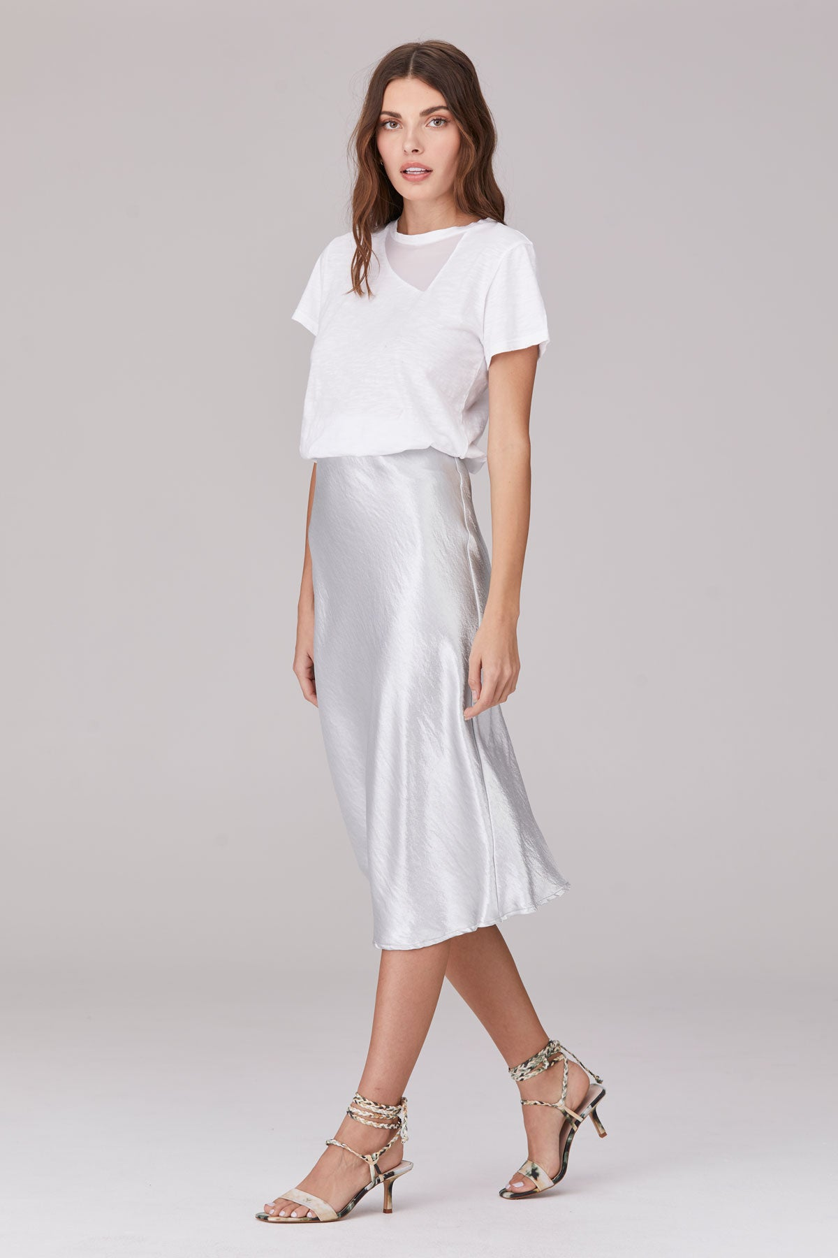 LNA Shine Bias Skirt in Silver