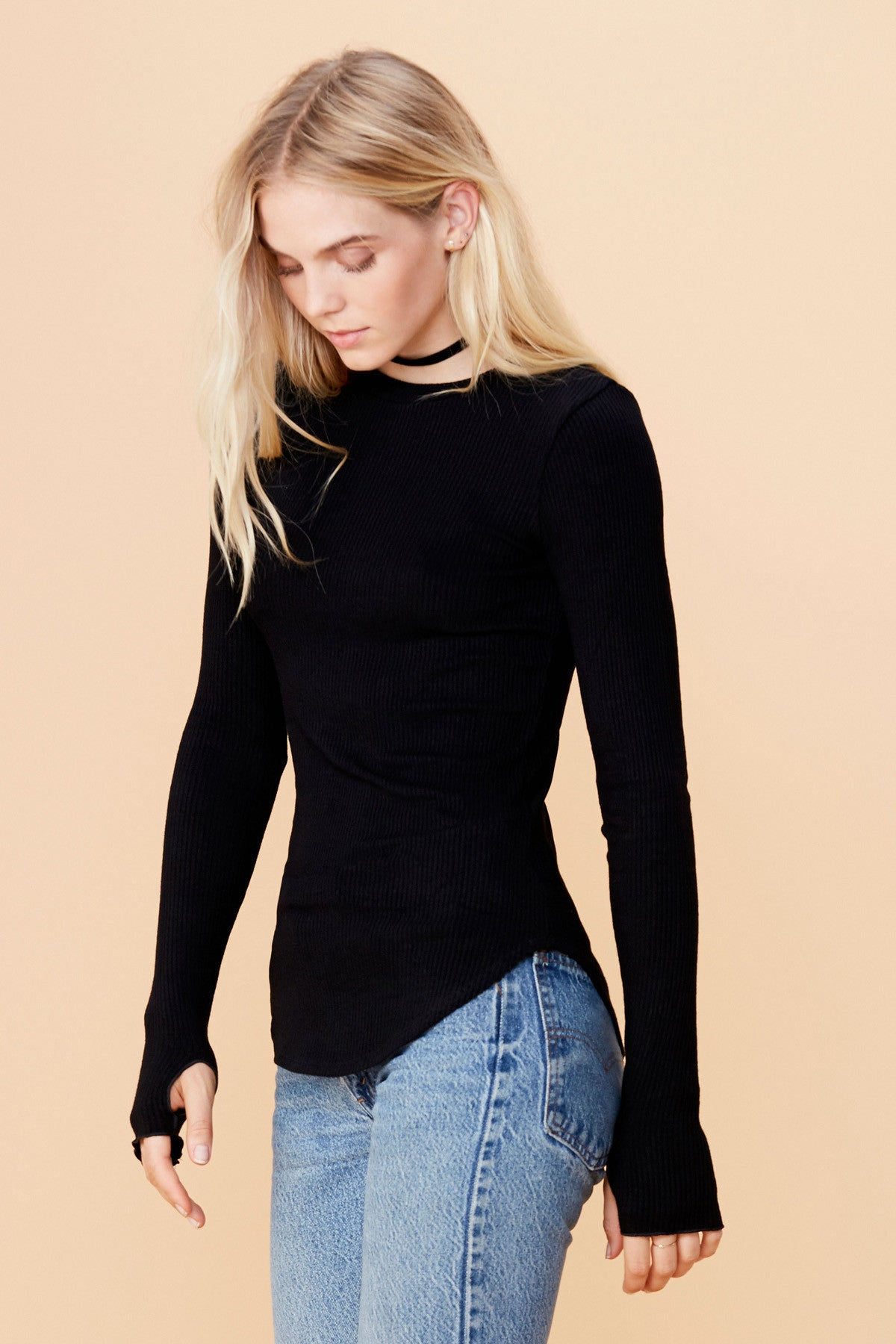 Sloane Rib Long Sleeve - Black