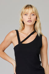 LNA Sonia Rib Black Cutout Top