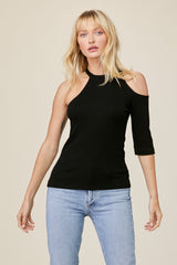 LNA Sophie Rib Top in Black