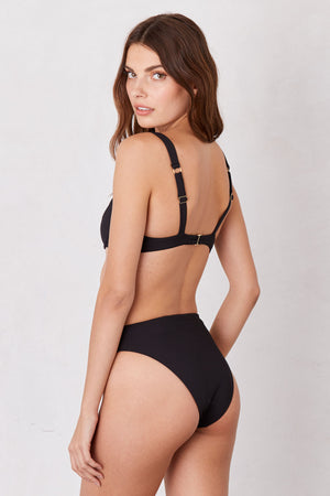 LNA Swim Black Sorrento High Waist Bikini Bottom