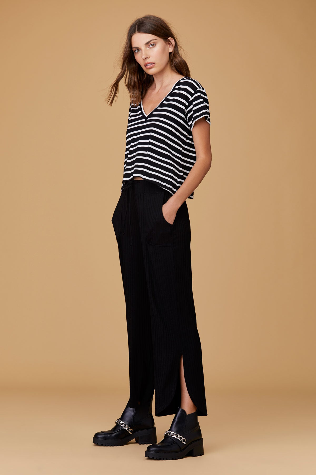 LNA Sparks V neck Tee in Black and White Honey Stripe