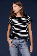 LNA Raze Tee in Black and White Stripes