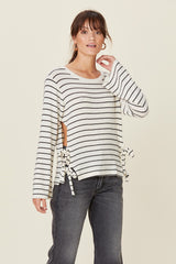 LNA Ezra Tie Side Striped Sweater Top