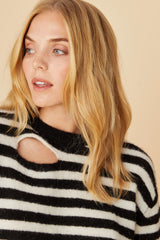 LNA Black and white Malone striped sweater