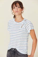 LNA Striped Vallis Tee with Tie Side