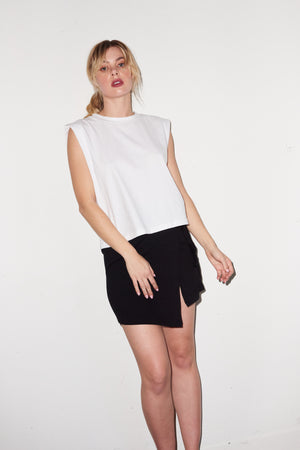 LNA Strong Shoulder Tee in White