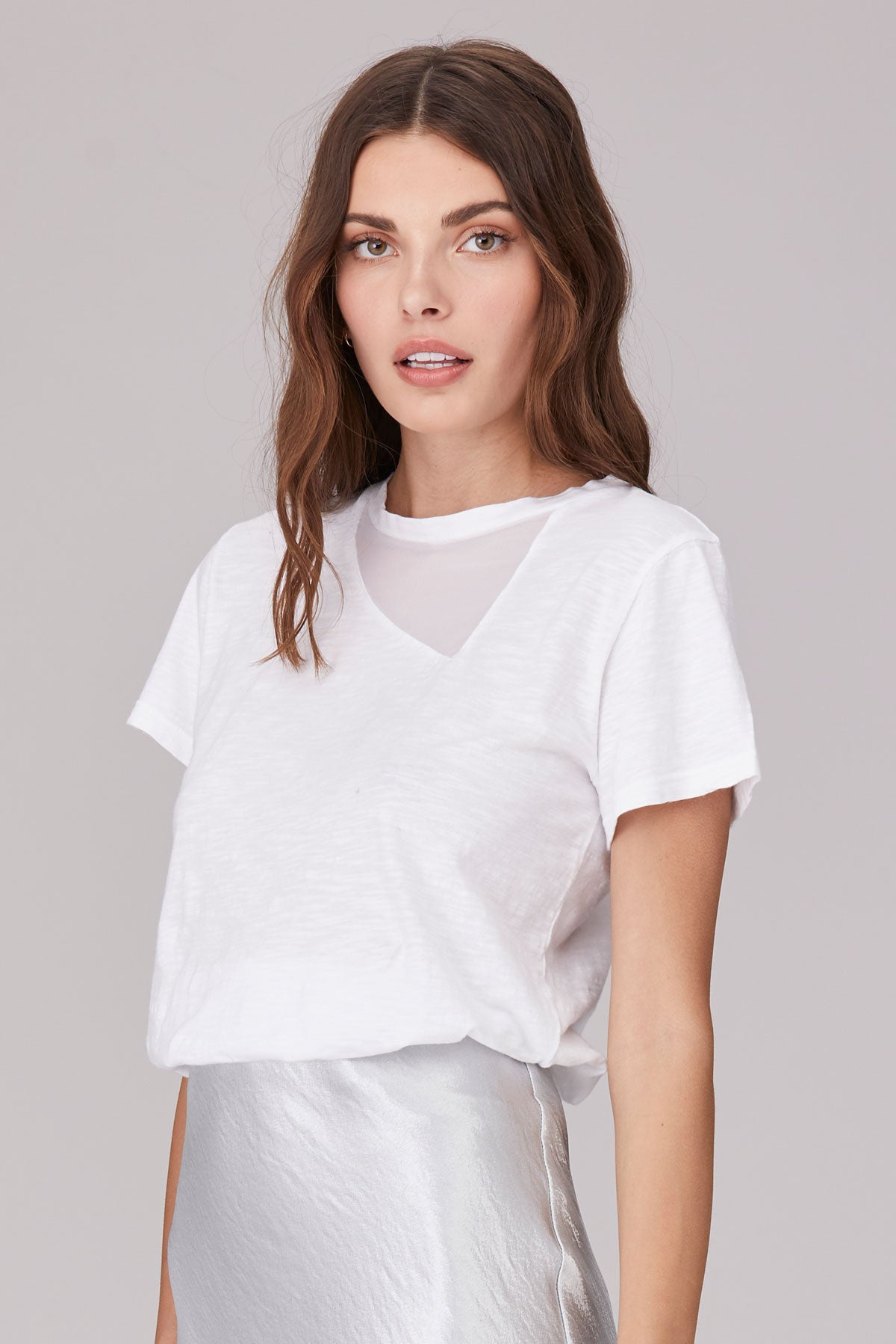 LNA Surreal Tee with Mesh Detail in White