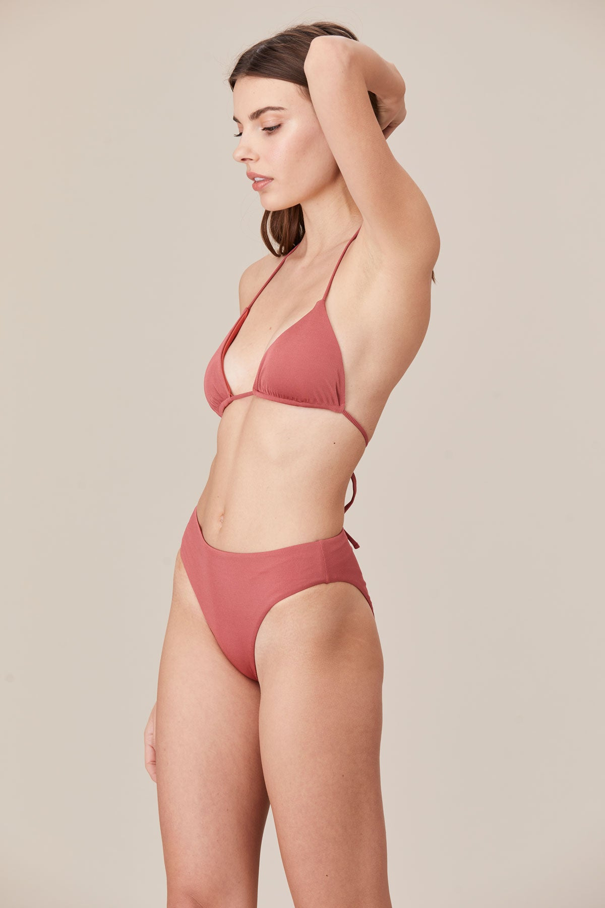 LNA Swim Etna Triangle Bikini Top in Desert Rose