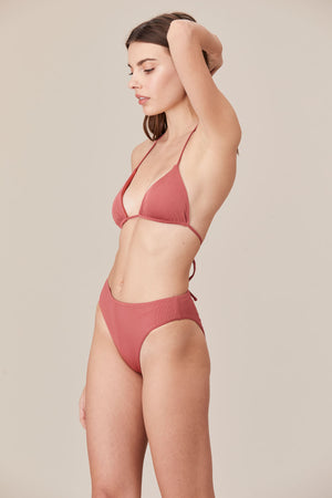 LNA Swim Sorrento High Waist Bikini Bottom in Desert Rose