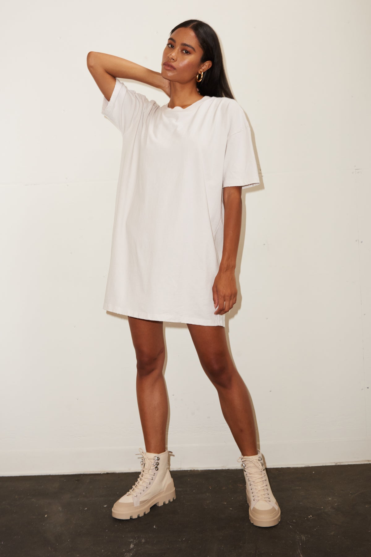LNA Oversized T Shirt Dress In Clove