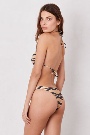 LNA Swim Bahia Brazilian Bikini Bottom in Tiger Print