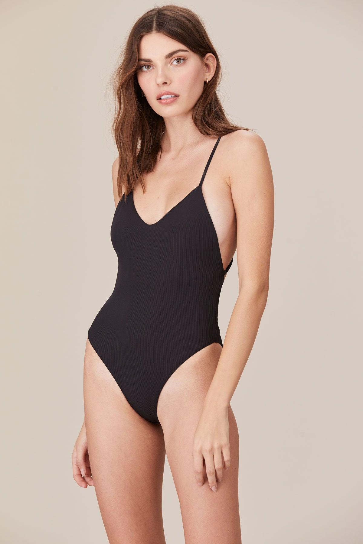 LNA Swim Tangier One Piece Suit in Black