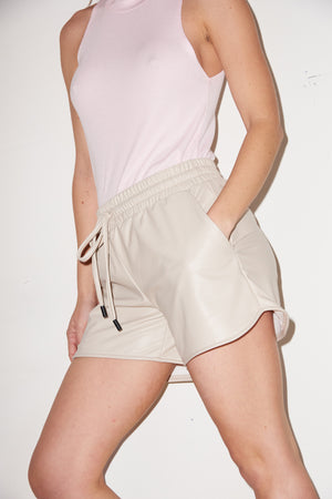 LNA Faux Leather Shorts in Bone