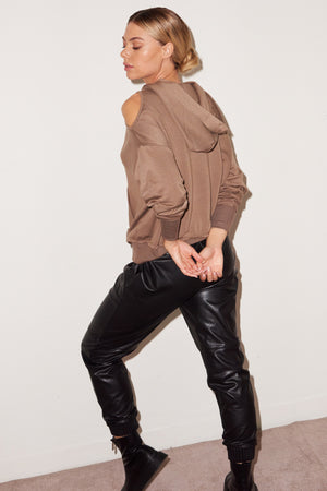 LNA Taupe Frequency Cutout Hoodie