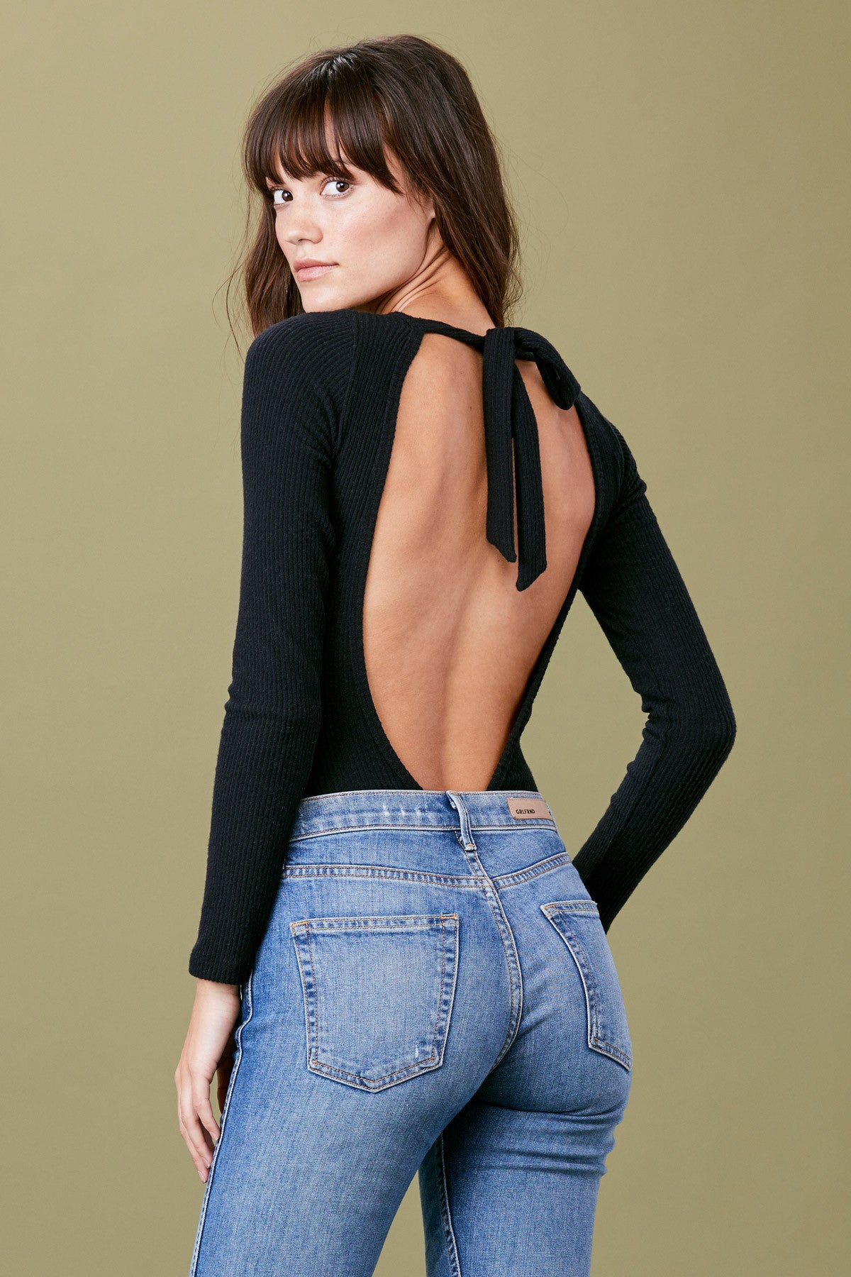 Tie Back Bodysuit - Black