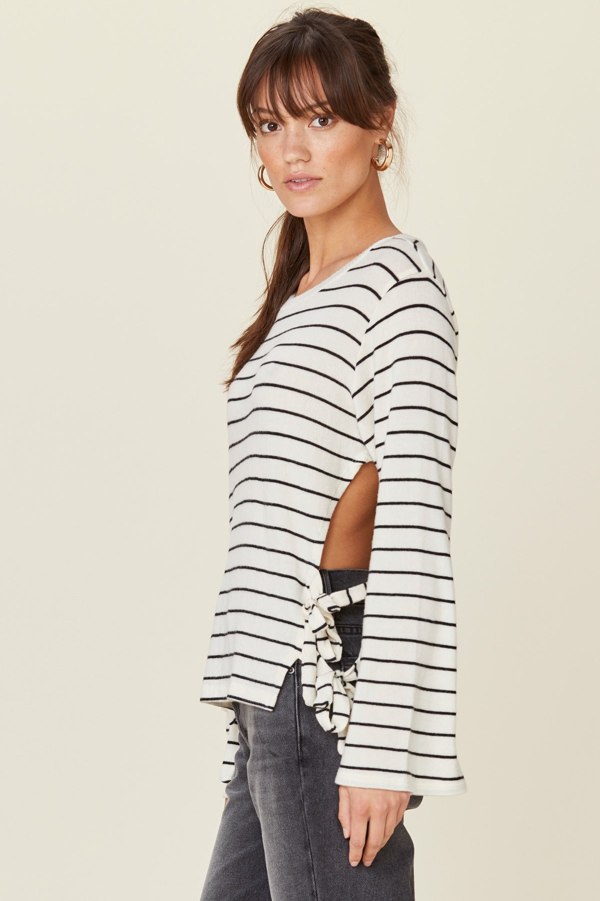LNA Striped Tie Side Ezra Sweater