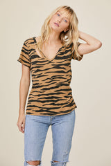 LNA Tiger Print Fallon V Neck Tee Shirt