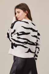LNA Boxy Cardigan with Buttons in Ivory and Black Tiger Print