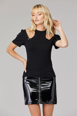LNA Clothing Tilda Rib Cutout Top in black