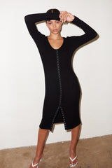 LNA Tori Button Front Dress in Black