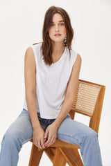 LNA Torn Pocket Tank in White