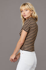 LNA Vertigo Tee in Burro Brown and Black Stripe