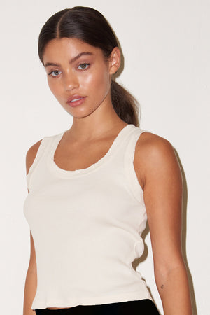 LNA Double Raw Edge Rib Tank in Vintage White