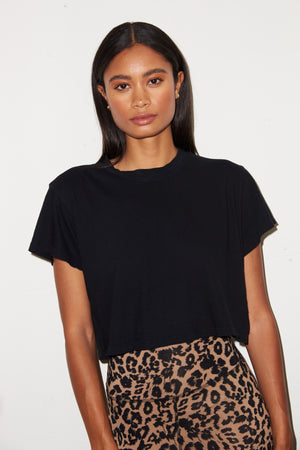 LNA Ava Cropped Tee in Black