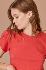 LNA Vylet Tee with Tulip Sleeves in Red