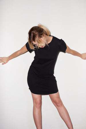 LNA Vylett Tee Mini Dress in Black